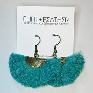 Flint+Feather Teal Fan Fringe Tassel Earrings NWT